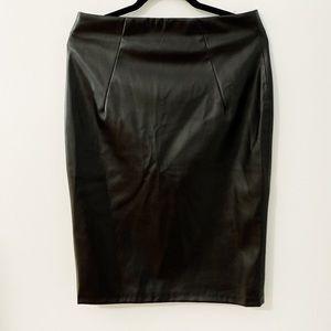 Zara Black Faux leather pencil skirt